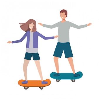 Coppia donna con personaggio avatar di skateboard