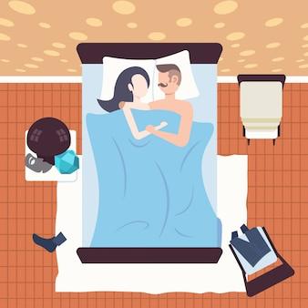 Coppia dormire insieme uomo donna sdraiata abbracciando nel letto camera da letto moderna interni femmina maschio personaggi dei cartoni animati vista dall'alto