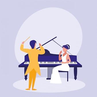 Coppia elegante che suona il personaggio di avatar di pianoforte