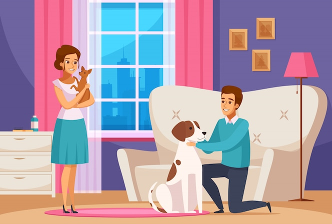 Coppia famiglia con animali domestici a casa