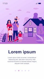 Coppia famiglia felice con bambini e animali domestici in piedi insieme al di fuori dell'illustrazione