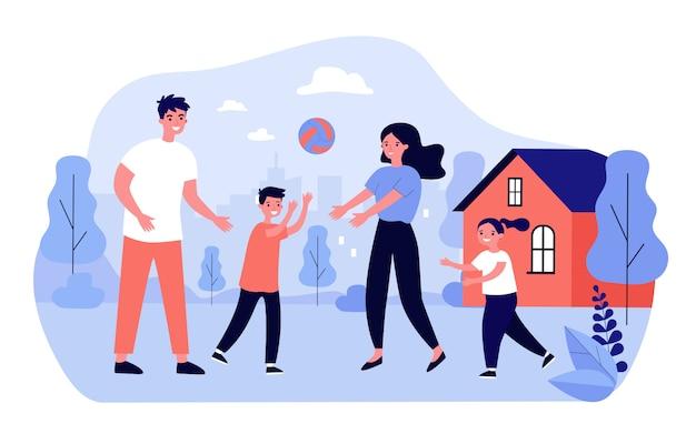 Coppia famiglia felice godendo attività all'aperto con i bambini