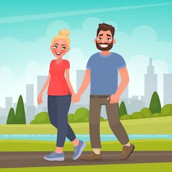 Coppia felice in un parco cittadino. uomo e donna che si tengono per mano camminando all'aperto. illustrazione vettoriale in stile cartone animato