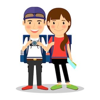 Coppia giovane turista zaino in spalla