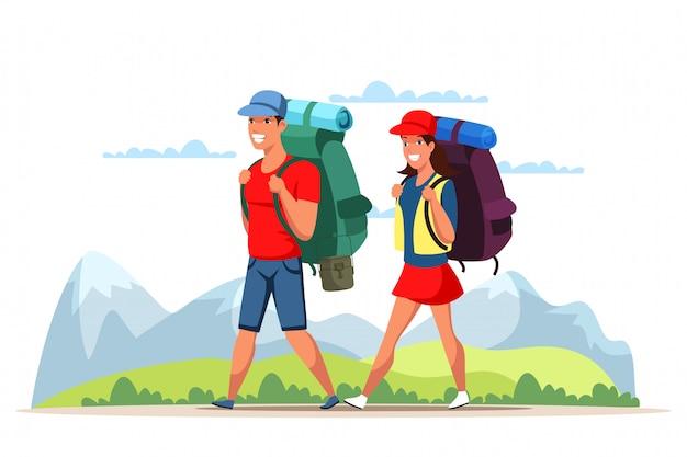 Coppia giovane uomo e donna che viaggiano in montagna
