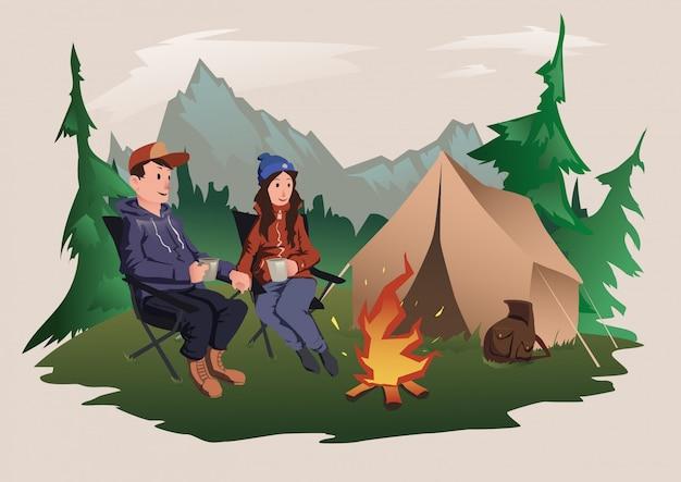 Coppia giovane, uomo e donna seduti intorno al fuoco nella foresta. escursionismo, attività ricreative all'aperto. illustrazione.