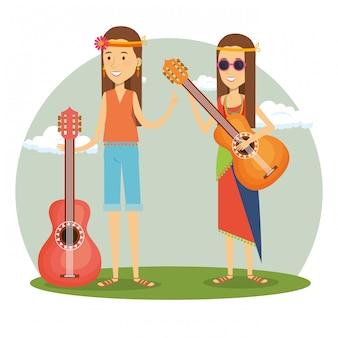 Coppia hippy con chitarre