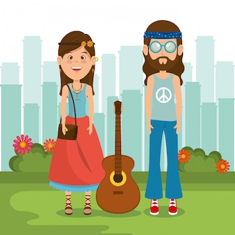 Coppia hippy con una chitarra