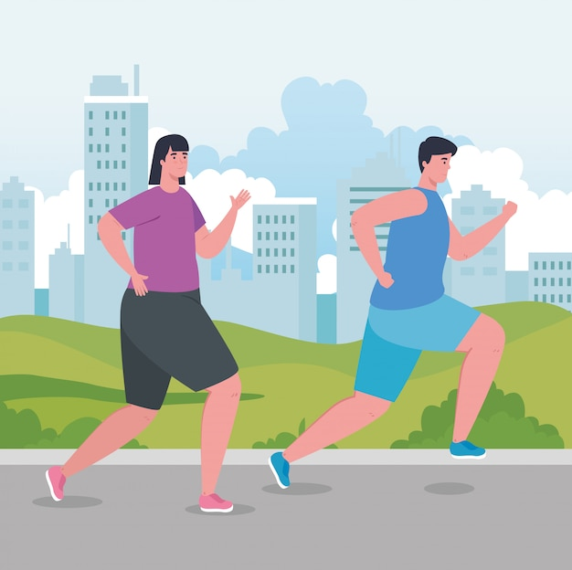 Coppia i maratoneti che eseguono la competizione sportiva, la donna e l'uomo eseguono la concorrenza o l'illustrazione della corsa di maratona