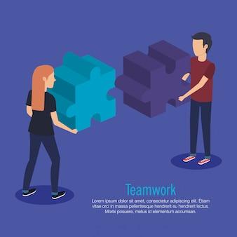 Coppia il lavoro di squadra con i pezzi del puzzle