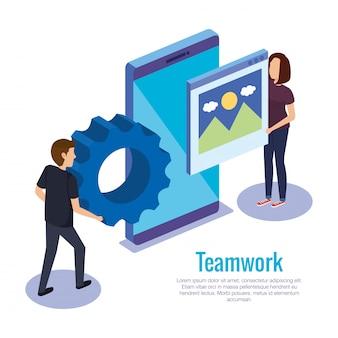 Coppia il lavoro di squadra con lo smartphone