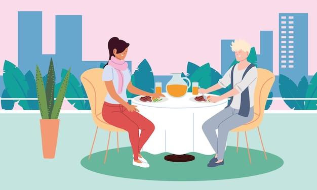 Coppia in amore cenando e bevendo un succo nel disegno dell'illustrazione del ristorante