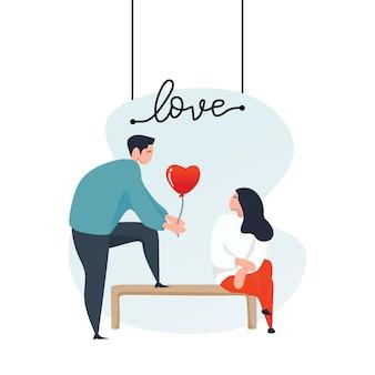 Coppia in amore per lo sfondo di san valentino