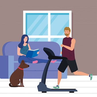 Coppia in casa, facendo attività, uomo che corre sul tapis roulant e libro di lettura della donna in casa