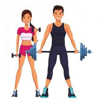 Coppia in forma facendo esercizio