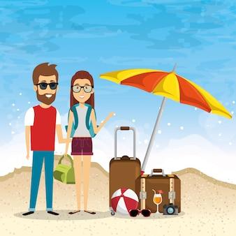 Coppia in spiaggia vacanze estive