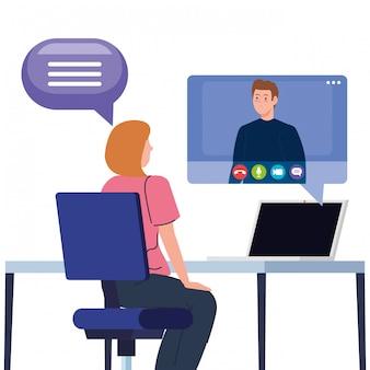 Coppia in videoconferenza in laptop