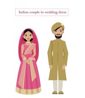 Coppia indiana in abito da sposa tradizionale