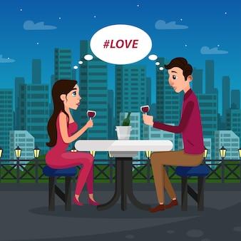 Coppia innamorata che ha un appuntamento romantico in tarda serata