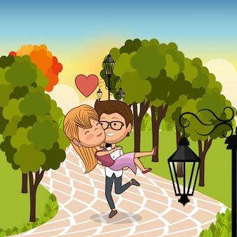 Coppia innamorata sul parco