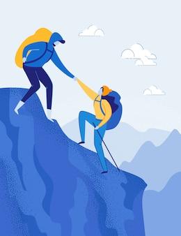 Coppia itinerante con zaini arrampicata su roccia.