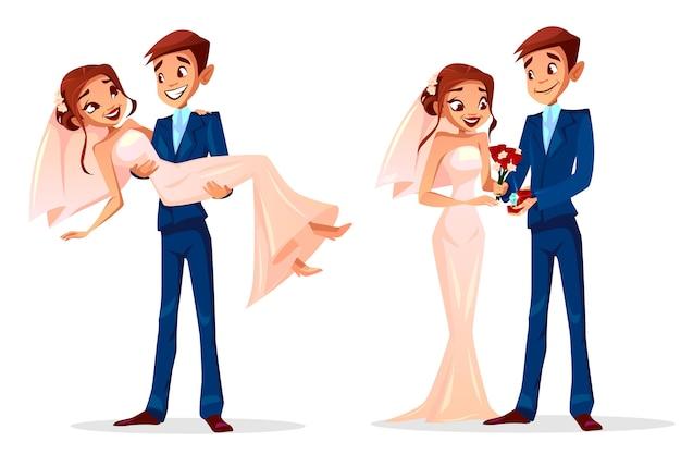 Coppia l'illustrazione di nozze dell'uomo e della donna sposati appena per il modello della cartolina d'auguri.