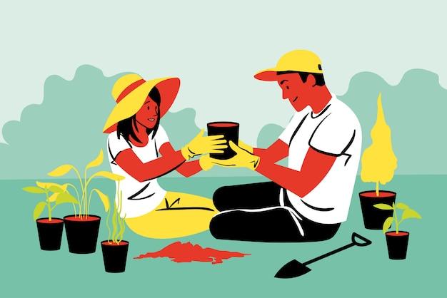 Coppia, lavoro di squadra, agricoltura, giardinaggio, piantare, concetto di natura