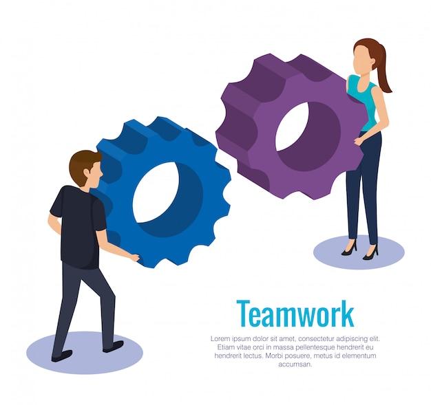 Coppia lavoro di squadra con ingranaggi