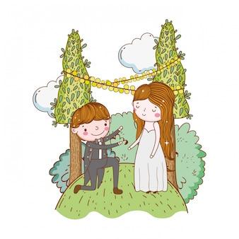 Coppia matrimonio carino cartone animato