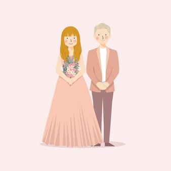 Coppia matrimonio carino in abiti a tema retrò e rustico con colore rosa e pesca