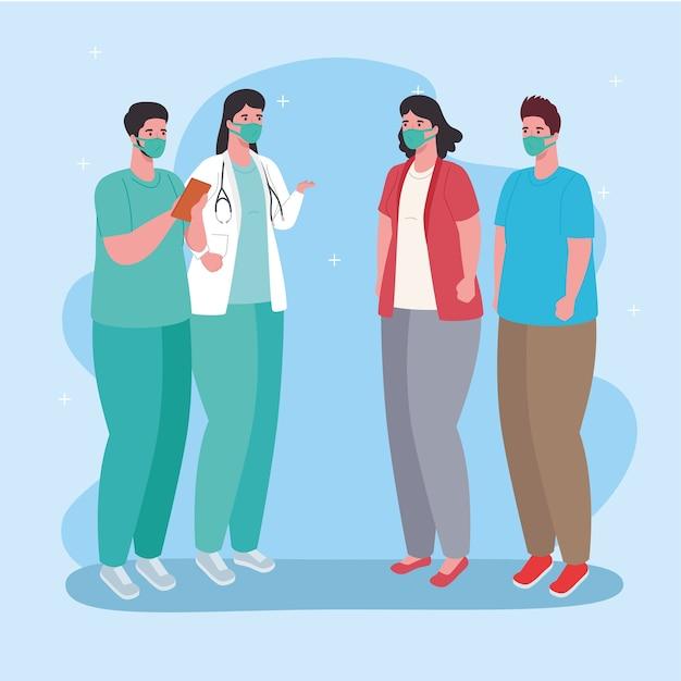 Coppia medici e pazienti che indossano mascherina medica contro covid 19 illustrazione