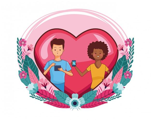Coppia millenaria nel cartone animato cornice cuore
