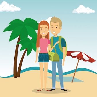 Coppia nei personaggi della spiaggia