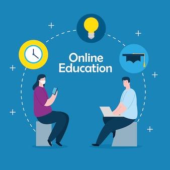 Coppia nell'istruzione online con progettazione dell'illustrazione delle icone