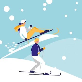 Coppia praticare lo sci sul personaggio di avatar di ghiaccio