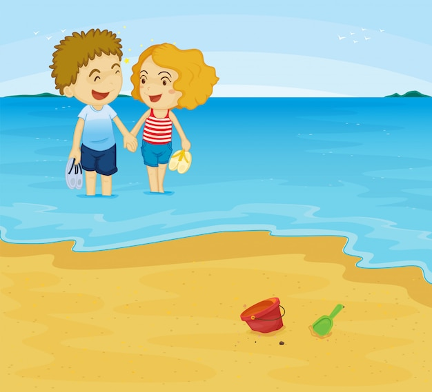 Coppia romantica in spiaggia