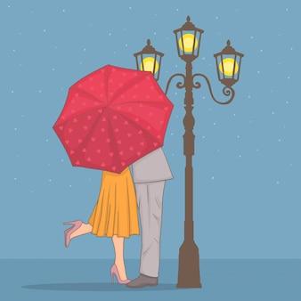 Coppia romantica sotto un ombrello rosso