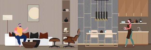 Coppia romanticismo modern interior of the living room.