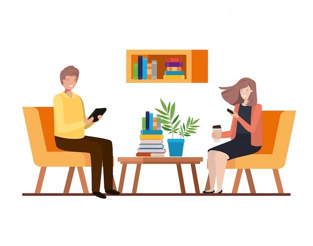 Coppia seduta nel personaggio avatar ufficio lavoro