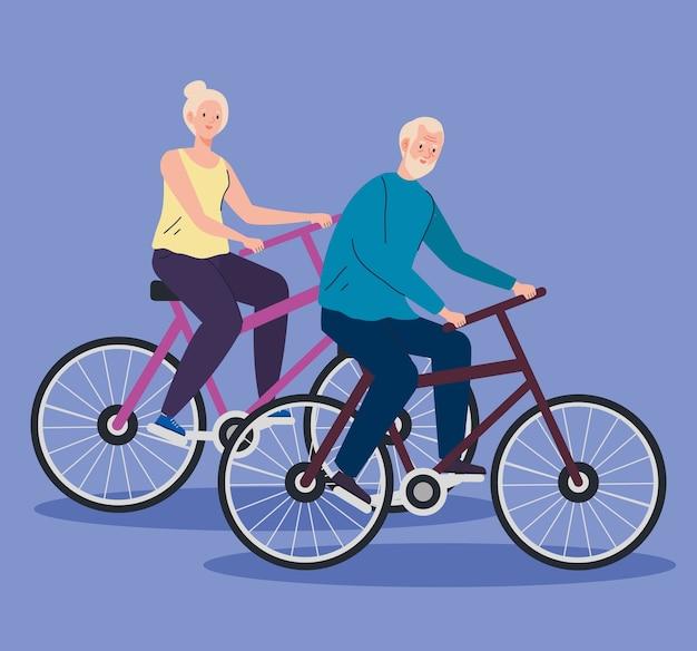Coppia senior in bicicletta, illustrazione di concetto di ricreazione per il tempo libero