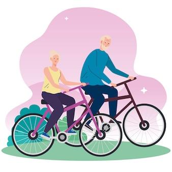 Coppia senior in bicicletta nell'illustrazione del parco