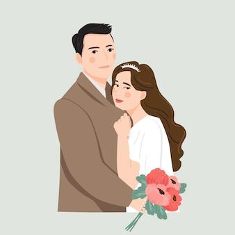 Coppia simpatico cartone animato sposi