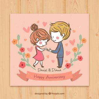 Coppia sketchy in amore carta di felice anniversario