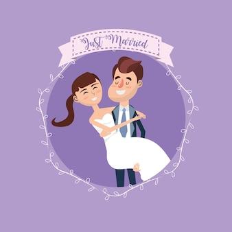 Coppia sposata con ramo e disegno del nastro