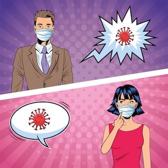 Coppia usando maschere e covid19 particelle in stile pop art