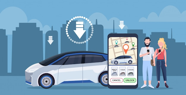 Coppia utilizzando lo schermo dello smartphone mappa della città ordinazione online taxi car sharing concetto clienti download applicazione mobile trasporto servizio di car sharing app