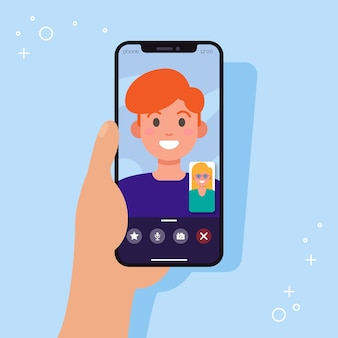 Coppia videochiamate da smartphone