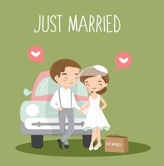 Coppia vintage carino appena sposato cartoon