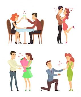 Coppie adorabili divertenti personaggi romantici maschili e femminili.