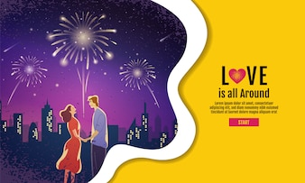 Coppie adorabili, San Valentino, festival, fondo di notte di paesaggio